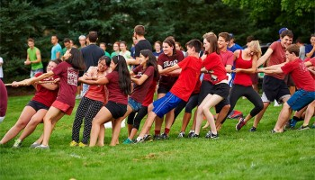 Students in a tug-of-war competition