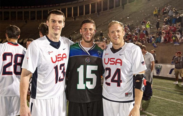 L to R: Matt Abbott, Peter Baum '13, and Chris Eck '08 played in the 2014 Major League Lacrosse All-Star Game.