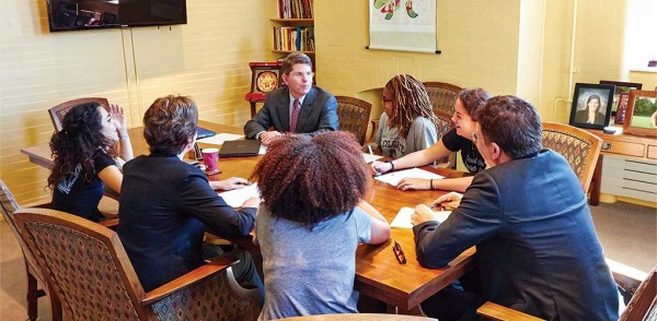 President Herbst, Dean Nelson, and Provost Hicks discuss the 21 point plan with members of the ACC.