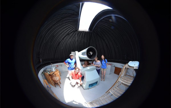 Students conducting summer research in Colgate observatory.