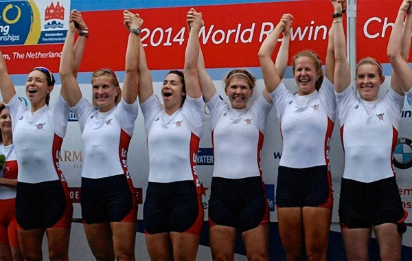 Lauren Schmetterling '10 (fourth from left) and the U.S. Women's Eight crew