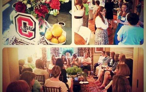 Margaret Maurer discusses books and life with Colgate alumnae at Peg Flanagan's home.