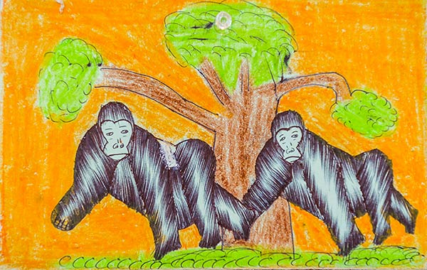 Artwork of gorillas from Ugandan schoolchildren