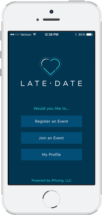 LateDate – Phone login screen