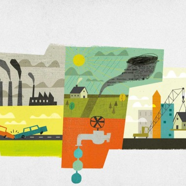 Illustrated graphic collage of environmental themes