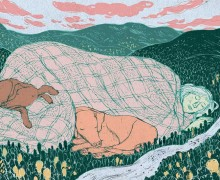 Illustration of giant woman and two dogs asleep in valley