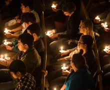 Candlelight vigil in Colgate Memorial Chapel