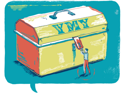 Illustration of tool chest with letters YMY