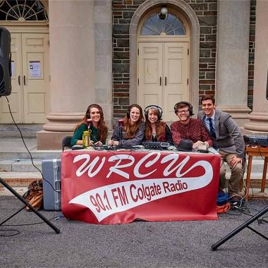 WRCU mobile broadcasting setup outside Memorial Chapel