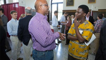 Colgate alumnus speaks with current student