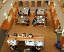 Students studying in the atrium of Case Library