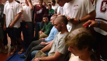 Student's shave their heads for cancer research