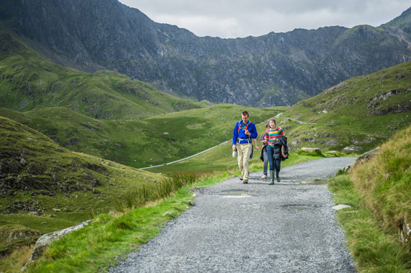Students walking in Snowdonia National Park
