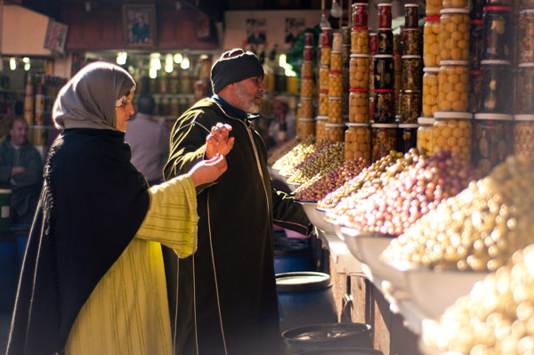 Shoppers at a market in Morocco