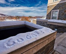 """Go Gate"" written in the snow at the top of Persson Stairs"