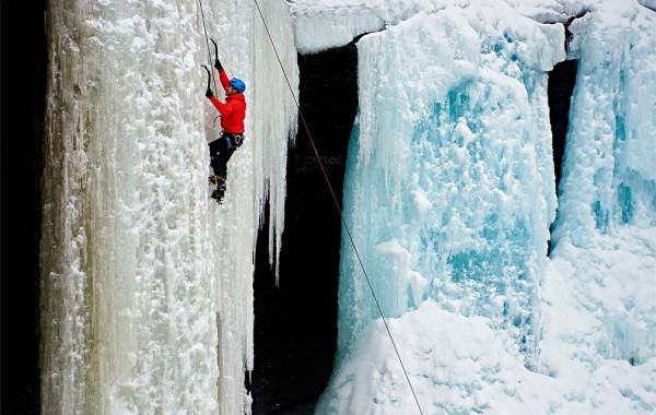 Austin Sun ice climbing at Tinker Falls.