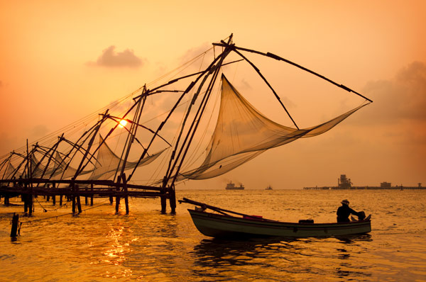 Docks with Chinese fishing nets, seen at sunset