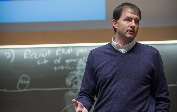 Professor Jason Meyers in a Colgate classroom