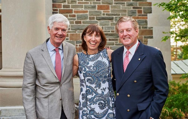 James A. Smith '70, Marianne Crosley '80, P'16, and Peter Blaise Desnoes '65, P'17