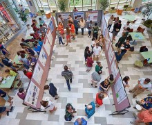 View of poster session from above in the atrium of the Ho Science Center
