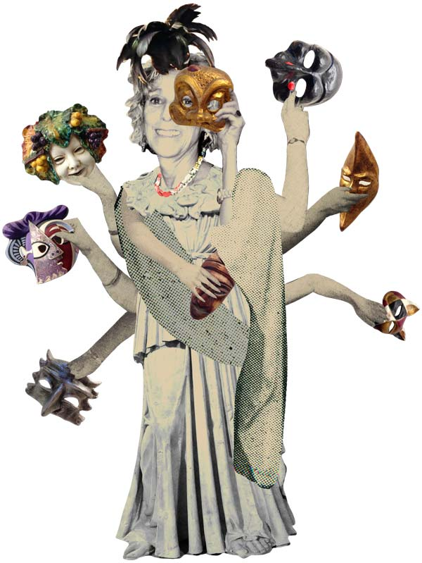 Illustration of Anita Johnston with many masks
