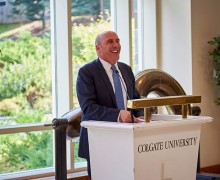 Brian Casey, Colgate's 17th president, at a Colgate podium