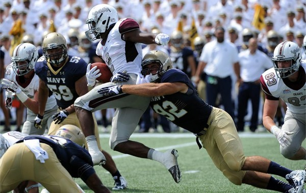 Colgate running back battles through Navy tackles