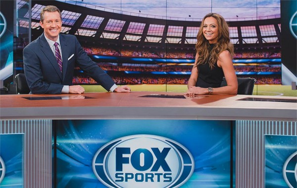 Rob Stone '91 with his co-host Kate Abdo on the Fox Sports TV set
