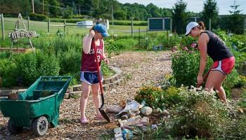 Students work in the community garden