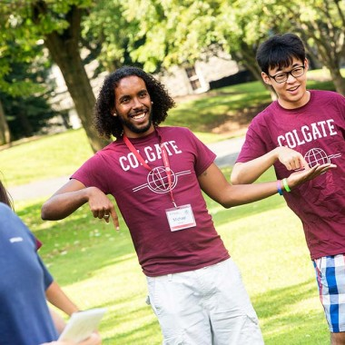 International students play a game of Gotcha at orienation.