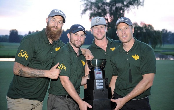 Mark Dekanich '08, Tyler Burton '08, Jesse Winchester '08, and Ben Camper '08 with trophy
