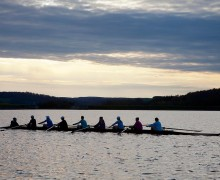 The rowing team on Lake Moraine.