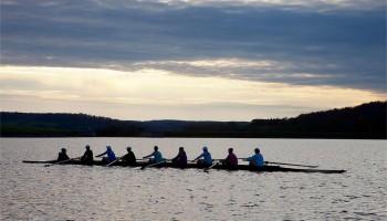 The rowing team on Lake Moraine.