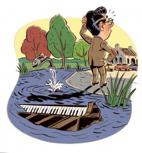 Cartoon of piano in Taylor Lake