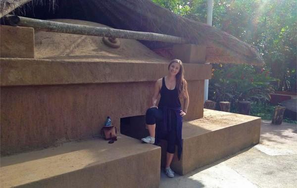 Hannah Robinson '11 outside a Mayan steam bath.