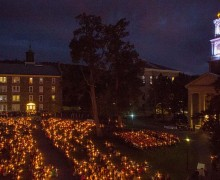 Candlelight vigil in front of Memorial Chapel.