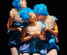 Students in baby bird costumes during theater production