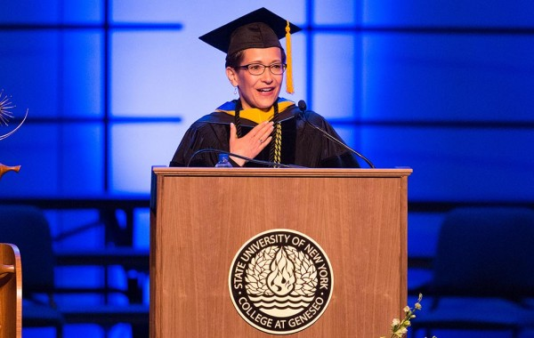 Denise Battles in academic attire at Geneseo's commencement