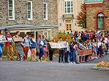 Students protest sexual violence outside the Center for Women's Studies