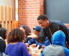 Students chat over a meal at Frank Dining Hall
