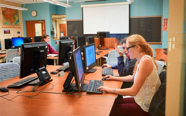 Students at work on classroom computers