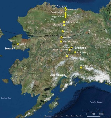 Map of research locations in Alaska