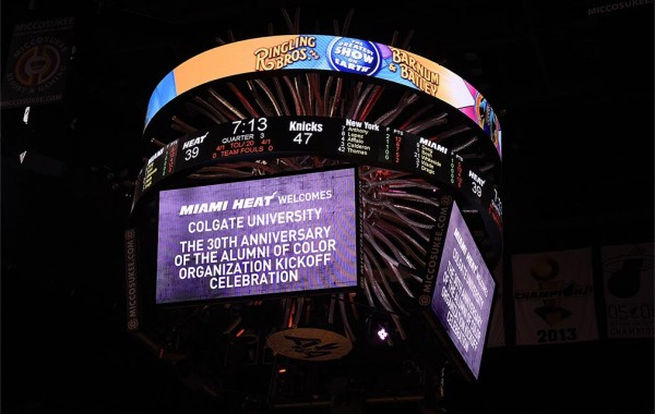 Miami Heat scoreboard celebrates Colgate Alumni of Color to home game.