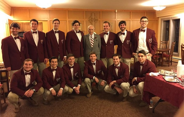 Current Colgate Thirteen members with Bill MacIntosh '44, a founding member. Back row (L to R): Mike Rapaport '18, Michael Zeitler '17, Micah Bower-Kaiser '17, Sean Maguire '16, MacIntosh, Casey Konys '16, Warren Dennis '16, and Danny Foussard '16. Front row (L to R): Alex Weig '17, Evan Fireman '17, Drew O'Hara '19, Ben Newman '16, Alex Drakos '16, and Joe Baez '17.