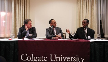 L to R: Michael Kershow '77 and LeRoy Potts '85 with Joseph Sebarenzi, exiled former member of the Rwandan parliament.