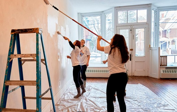 Students paint at the the Earlville Opera House