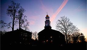 Colgate Memorial Chapel at sunset.