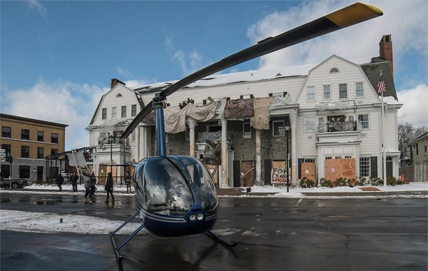A helicopter in front of the Colgate Inn