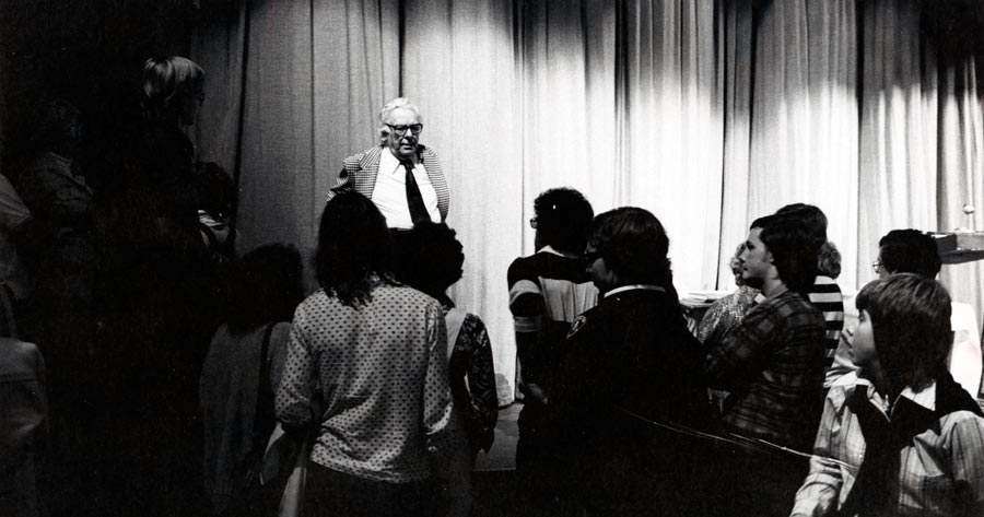 Walter Gibson performing in Brehmer Theater during first-year orientation in 1975.