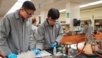 Students work in a Colgate science lab